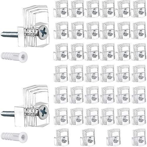 40 Clips de Plástico de Espejos, Clip de Montaje de Espejo de 1/8 y 1/4 de Pulgada Abrazaderas de Espejo Transparente con Tornillo y Ancla para Pared