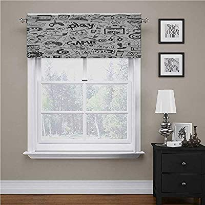 """Interestlee Video Games Curtains for Kitchen Monochrome Sketch Style Gaming Design Racing Monitor Device Gadget Teen 90s for Living Room/Kitchen/Bedroom Black White, 42"""" x 18"""" from Interestlee"""