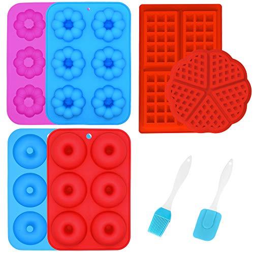 PUDSIRN 4 moldes de silicona para donas y 2 moldes de silicona para gofres, antiadherentes, resistentes al calor, moldes para hornear pasteles, galletas, magdalenas, gofres