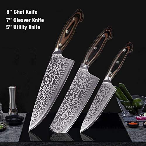 Couteau de cuisine en acier au carbone Set haut Série japonaise inoxydable Damas Laser Motif Cleaver Couteau de cuisine Chef (Color : 3pcs)