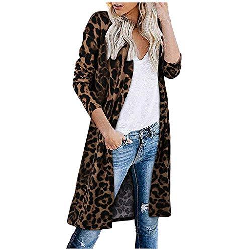 iHENGH Damen Herbst Winter Bequem Mantel Lässig Mode Jacke Frauen Langarm Leopardenmuster Tasche Mode Mantel Bluse T-Shirt Strickjacke Top(Braun, S)