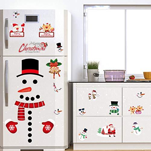 Yuson Girl Natale Vetrofanie Adesivi Murali Rimovibile Fai da te Finestra Decorazione Vetrina Wallpaper Decorazione del frigorifero di neve Christmas Decor Babbo Natale
