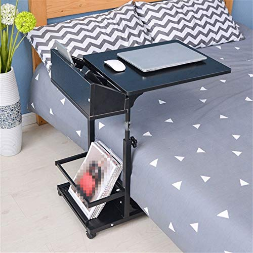 QWERTY Laptop Desk Portable Computer Table Adjustable Lifting Standing Laptop Desk Bedroom Removable Storage Small Side Table Mini Sofa Cabinet Home Bedside Laptop Overbed Table (Color : Black)