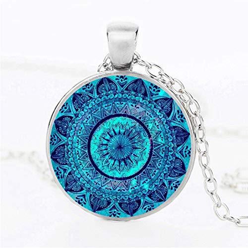 Colgante de cristal con diseño de mandala, collar de cabujón y colgante Zen Yoga Spirital Jewellery Lucky Amulet