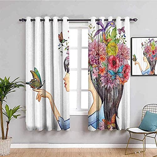 JYDFC Blackout Curtains For Bedroom Eyelet - 3D Digital Printing Perforated Curtains - Living Room Bedroom Kitchen Nursery Curtain - 63X45 Inch - Colorful Flowers Girl Animals