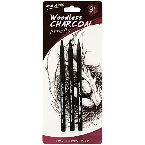 Mont Marte Woodless Charcoal Pencils, 3 Piece. Features 3 Grades Of Charcoal Including Soft, Medium and Hard.