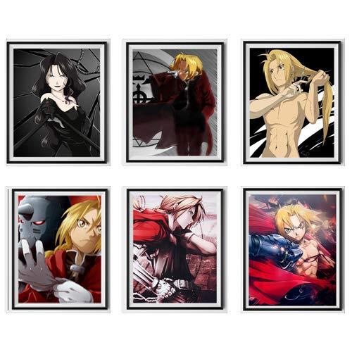 MS Fun Fullmetal Alchemist Edward Alphonse Lust Art - Póster digital de anime (8 x 10 pulgadas), sin marco, juego de 6