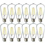 Sunco Lighting 12 Pack ST64 LED Bulb, Dimmable, Waterproof, 8.5W=60W, 3000K Warm White, Vintage Edison Filament Bulb, 800 LM, E26 Base, Restaurant or String Lights - UL, Energy Star