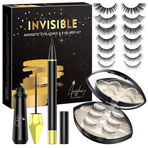 AOVSHEY Invisible Magnetische Wimpern Eyeliner Set Ultraleicht Magnetic Lashes Mit Wiederverwendbare Wasserdichtem Langlebigem Magnetic Eyelashes 7 Paar mit Tragbare Spiegelbox