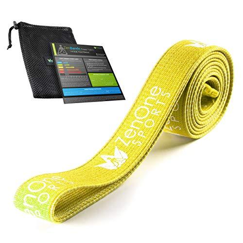 ZenBands Power Fabric, Fitnessband aus Stoff, rutschfestes Resistance Band, Widerstandsband für Ganzkörpertraining Zuhause, Klimmzugband, inkl. Workout-Guide (Gelb, Medium)
