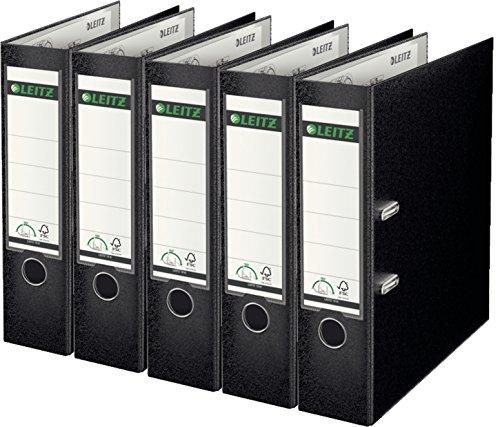 Leitz 10105095 Qualitäts-Ordner Plastik-Cover (A4, 8 cm Rückenbreite) schwarz 5er Pack, schwarz