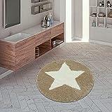 TT Home Alfombrilla De Baño, Alfombra Redonda Pelo Corto para Baño con Motivo Estrellas Beige, Größe:60x60 cm