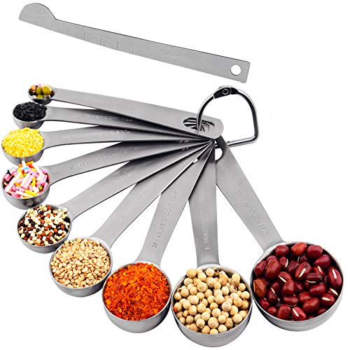Measuring SpoonsSmithcraft Measuring Spoons Set contains 9 Stainless Steel Measuring Spoons 18 14 12 34 1 tsp 12 23 1 Tbsp 4 Tsp 1 Measurer Ingredient Leveler and 1 Locking Ring