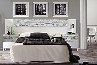 comprar comparacion Mobelcenter - Cabezal y mesitas Vintage, Acabado Blanco Brillo y Decapé - Medidas: 247 cm x 100 cm x 34 cm (0898)