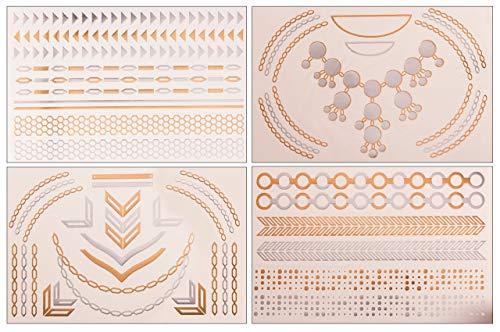 Tatuaje Flash de POSH Tattoo – Oro metálico plata blanco – Atrapasueños infinito pulseras tobilleras flores triángulos tatuajes de dedos – Varios tatuajes temporales disponibles