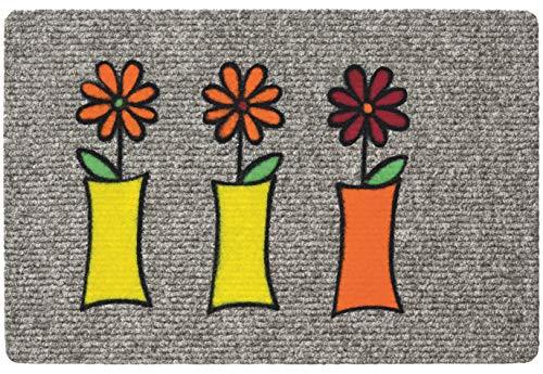 Betz paillasson essuie-Pieds 3 vases à Fleurs Couleur Gris Taille 40 x 60 cm