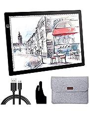 OOWOLF Tableta De Luz, Mesa de Luz Dibujo A4 Brillo Ajustable LED Ultradelgada con Interfaz USB, Funda de Manga Fieltro Protectora, Para Artistas, Dibujo, Animación