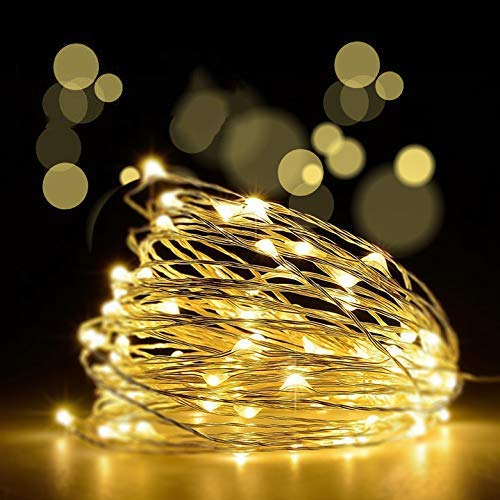 [2 Pack] 10M 100 LEDs Lichterkette, JOLALIAFairy Lights Kupfer Batterie mit 8 Modi IP65 Wasserdicht Fernbedienung & Timer Lichterketten für Zimmer Weihnachten Party Deko wohnzimmer Warmweiß