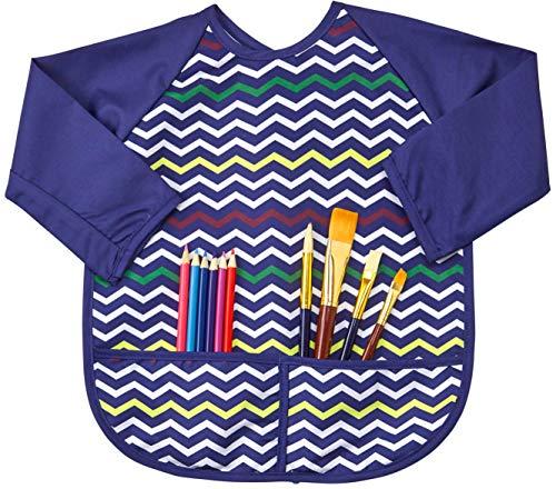 Kids Art Smock Apron Premium Long Sleeve Waterproof Bib for Painting and Eating