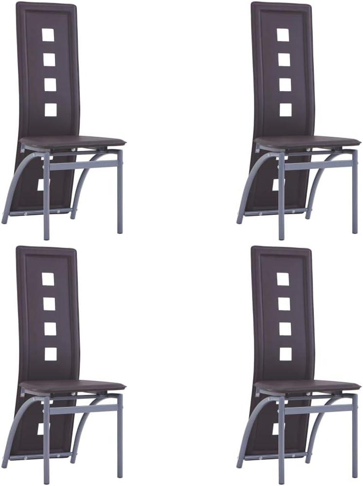 vidaXL 4X Sillas de Comedor Asiento de Cocina Interior Patio Parque Hogar Casa Muebles de Salón Escritorio Sala con Respaldo Cuero Sintético Marrón