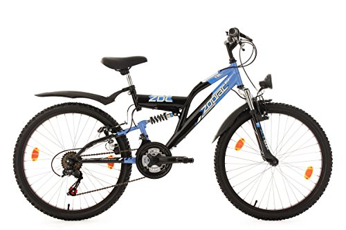KS Cycling Kinderfahrrad Mountainbike Fully 24\'\' Zodiac schwarz-blau RH 38 cm
