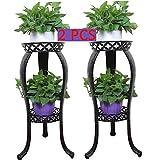 2Packs Metal Potted Plant Stand, Rustproof Decorative Flower Pot Rack with Indoor Outdoor Iron Art Planter Holders Garden Steel Pots