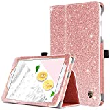 DUEDUE Galaxy Tab E 8.0 Case SM-T377/SM-T375, Sparkly Glitter Shockproof Slim PU Leather Flip Folio Stand Full Protective Case with Pencil Holder for Samsung Tab E 8.0 for Women Girls,Rose Gold