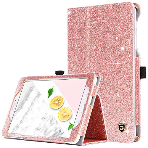 DUEDUE Galaxy Tab E 8 Case, Sparkly Glitter Shockproof Slim PU Leather Flip Folio Stand Full Body Protective Smart Case with Pencil Holder for Samsung Galaxy Tab E 8 inch(SM-T377/SM-T375),Rose Gold