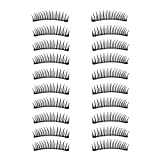 Rosmall 3D Handmade Thin Fake Eyelashes Set Long Strip Lashes for Ladies Women Makeup (10 Pairs)