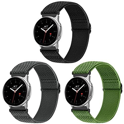 Vodtian Correa elástica ajustable de 20 mm, compatible con Samsung Galaxy Watch 42 mm/Watch 3 41 mm/Active2 44 mm 40 mm/Gear Sport, cambio rápido de nailon trenzado, solo Loop de repuesto, deportiva.