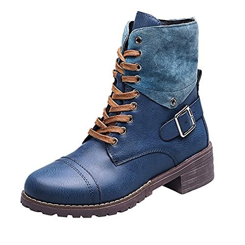 Fomino Botines de mujer elegantes con tacón de bloque cómodo, sandalias con correa para otoño e invierno, azul, 41 EU