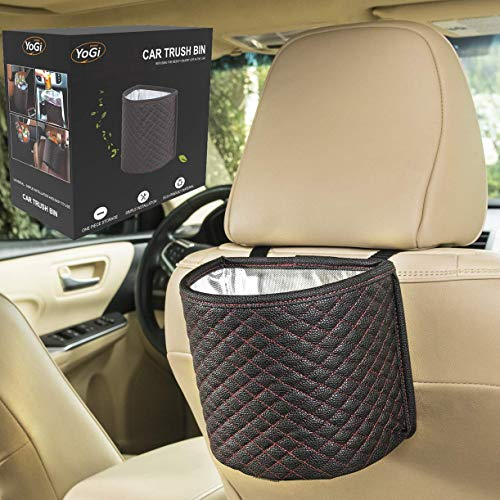 Car Trash can - Black Garbage Bag for Your auto with Back seat hangings, Elegante Well Design Cars Bags and bin with headrest Holder,Floor Waterproof Mini Container Perfect Best Accessories