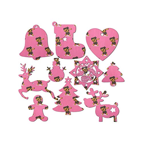 10 Pieces Animal Pattern Dog Cat Hanging Decor Home Funny Dog Rottweiler Dabbing Pink Wooden Santa Snowman Christmas Tree Christmas Stocking Bell Reindeer Snowflake Christmas Ornaments