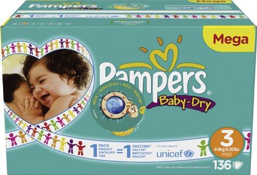 PAMPERS Baby-Dry Windeln Größe 3 Midi (4-9 kg) - Megapack 1 x 136 Windeln