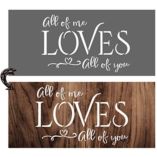 vizuzi All of Me Loves All of You - Plantillas para decoración del hogar, diseño rústico de granja inspiradora para pintar suelos de madera, muebles, ventanas, puertas de cristal, etc.