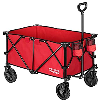 VIVOSUN Heavy Duty Folding Collapsible Wagon Utility Outdoor Camping Cart with Universal Wheels & Adjustable Handle Red