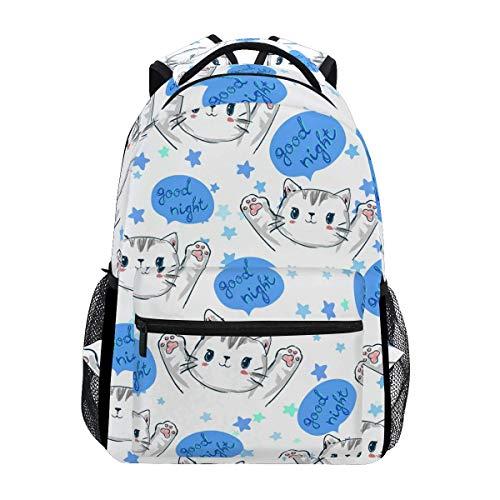 College Backbag,Girl Casual Daypack,Boy School Book Bag,Unisex Multifunction Rucksack,Kids/Adult Laptop Backpack,Men/Women Travel Knapsack,Handsome Cats Kittens Mustache