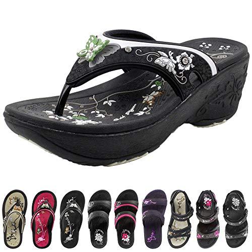 GP Wedge Flip Flop for Women: 8161 Black, EU35 (US Size 4-4.5)