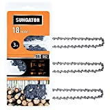 SUNGATOR 3-Pack 18 Inch Chainsaw Chain SG-S62, 3/8' LP Pitch - .050' Gauge - 62 Drive Links, Compatible with Craftsman, Ryobi, Homelite, Poulan
