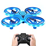 Drone for Kids Adults - Hand Operated Mini Drones Infrared Induction Indoor Flying Helicopter Ball with Led Lights & Music UFO Drone 360 Degree Rotating, Prefect Birthday Gift for Boy Girls(blue)