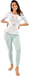 Habiba Cotton Three-Quarter Sleeves Bunny-Print Top with Heart-Pattern Leggings Pajama Set for Women - White and Mint Green
