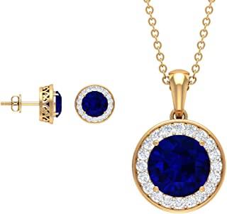 Custom 4.88 CT Lab Created Blue Sapphire Jewelry Set, Diamond Halo Stud Earring, Blue Sapphire Necklace and Earring, Gold ...