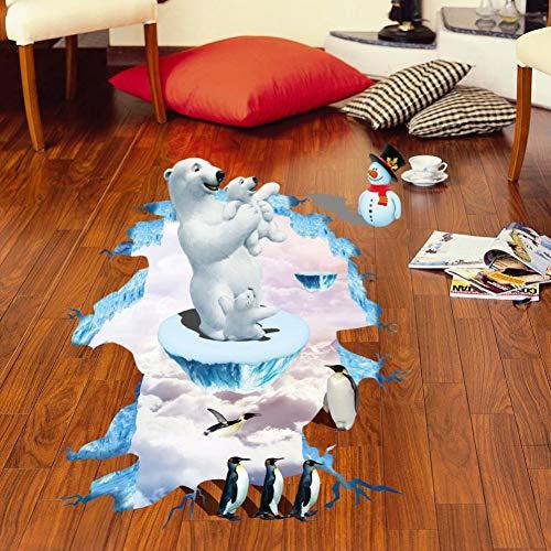 VIOYO 3D Polar beer pinguïn Vloer stickers voor kinderen kamers stickers home decor landschap Valse ramen Muursticker decoratie