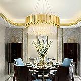JKUNYU - Lámpara de techo redonda de cristal dorado de 60 cm de diámetro