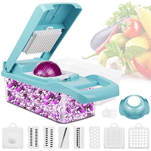 Kitchen Veggie choppe,Sucastle Quick Push Food Chopper Veg Slicer Dicer Food Slicer Dicer Shredder Spiralizer Cheese Cutter Mandolin Vegetable Cutter Slicer and Grater