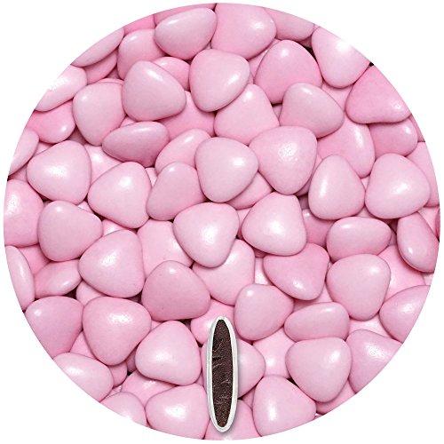 EinsSein® Schokoherzen 500g ca. 277 St. rosa glanz med. Gastgeschenke Hochzeit schokolade schokolinsen dragees dunkle Taufe herz candy bar bonboniere Hochzeitsmandeln Taufmandeln herzdragees