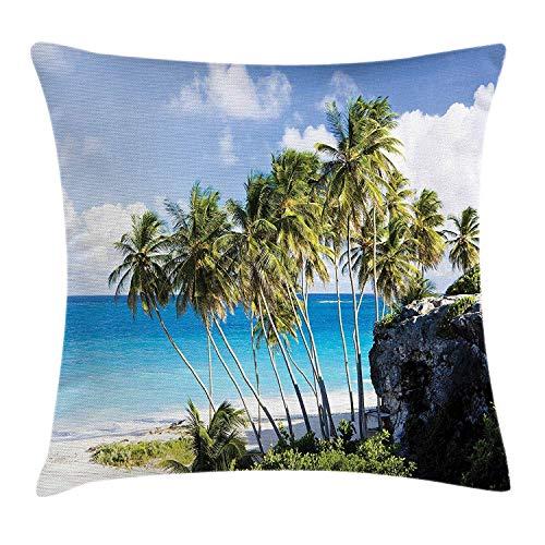 Butlerame Funda de Almohada de Viaje, Vista de la Isla caribeña con Palmera y Estampado de Destino de Viaje exótico del océano, 18 x 18 Pulgadas, Azul Crema