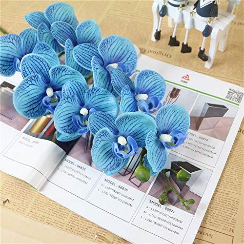 ZREED 9 Köpfe künstliche Schmetterlingsorchideen, Brautstrauß, for Home Garden Party Decor (Size : Blue A)