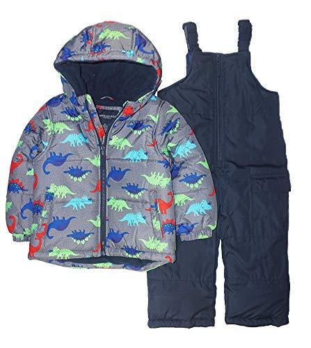 LONDON FOG Boys' Toddler 2-Piece Snow Bib & Jacket Snowsuit (5-6, Grey Dino)