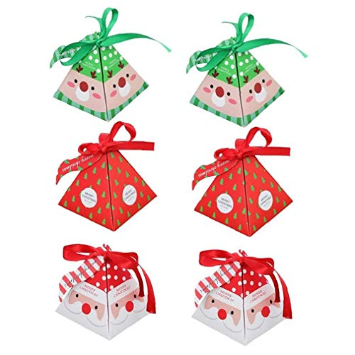 LAANCOO Candy Boxes Christmas Party Favors DIY Gift Cake Paper Boxes Packaging Xmas Party Treats for Dessert Cookie Festival Holiday(36pcs)